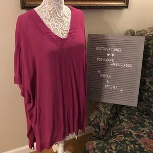 BCBG Purple V-Neck Tunic Top M/L